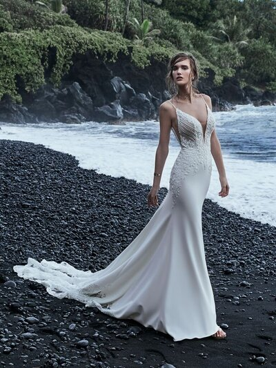 Cold Shoulder Sleeve Crepe Sheath Bridal Dress. What's your bouquet game for the big day? We're dreaming up all kinds of concoctions to complement the petal-shaped train in this sophisticated crepe wedding dress.