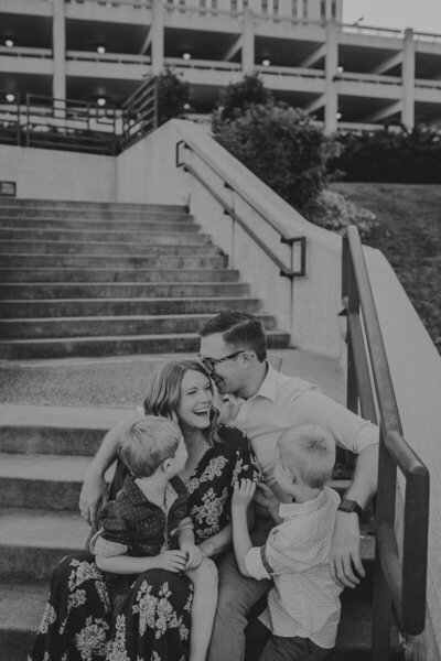 family on stairs