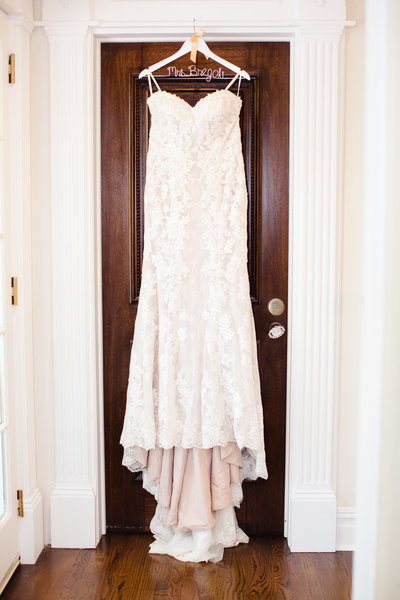 wedding dress hanging at park savoy