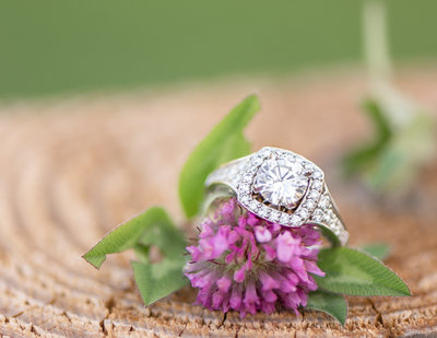 Square Engagement Ring  with diamond band