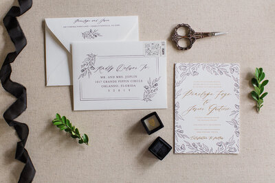 Romantic Wedding Invitations with Letterpress and Gold Foil