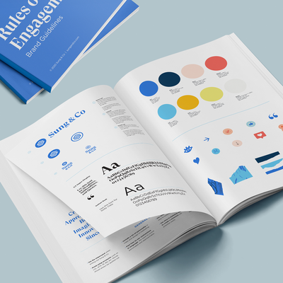 Mockup of Sung & Co's Brand Guide