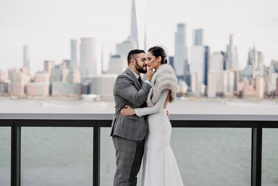 couple with city skyline