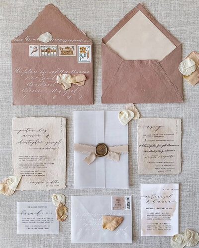 blush wedding invitation set with handmade paper