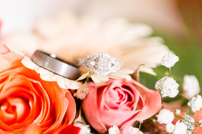 Wedding rings on bouquet photo by Fort Wayne Wedding photographer Simply Seeking Photography