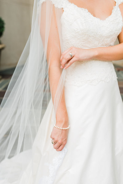 Refined bride in wedding dress