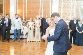 bride and groom first dance at the poinsett club wedding
