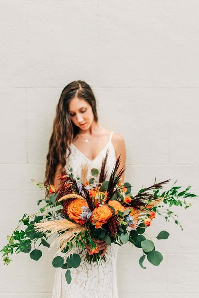 Virginia Wedding Photographer, bride with large bouquet