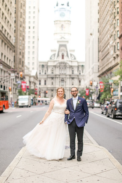 Wedding portrait in front of City Hall in Philadelphia