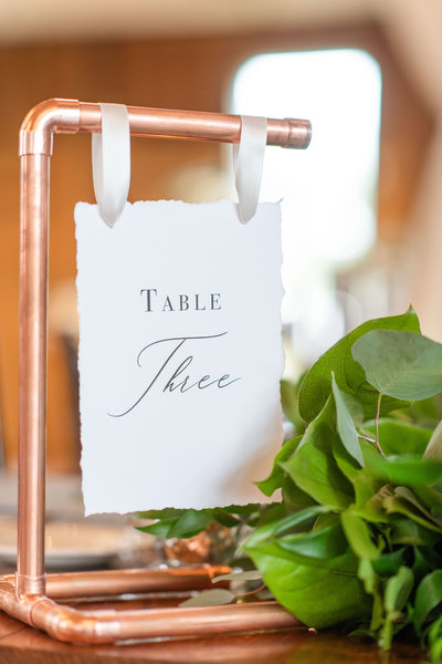 Copper Pipe Table Number Rental Wedding Decor