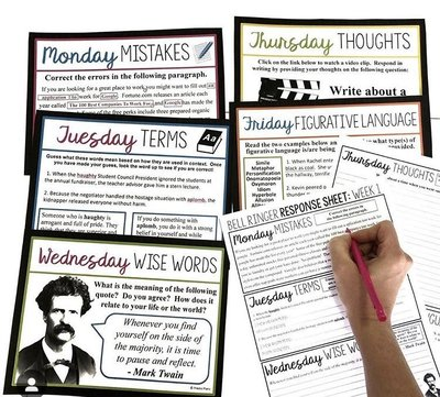 7 Bell Ringer Ideas For Middle & High School English - prestoplans com