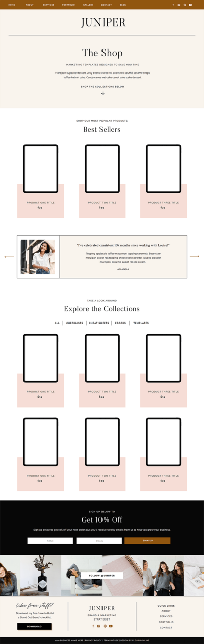 Juniper Showit shop templates for coaches, creatives and photographers