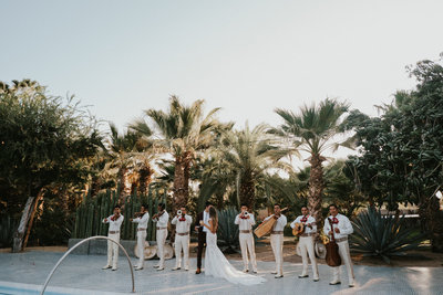 Bride & Groom by the pool in Los Cabos for their destination wedding by Sarah Anne Photography