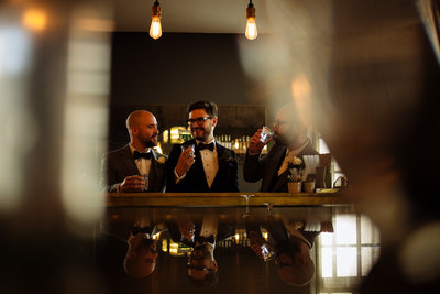 groomsmen in bar bathnal town hall