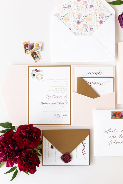 blush and gold floral wedding invitation vintage stamps beach florida 1