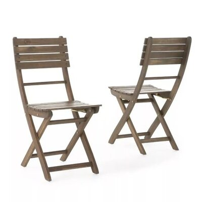 Acacia Wood Foldable Dining Chairs set of 2