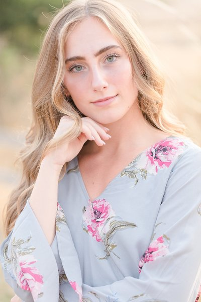 Senior session during golden hour at Powell Butte Park