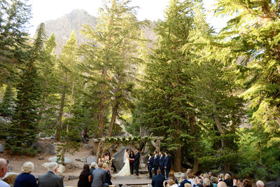 Bride and Groom wedding ceremony at Forest Chapel in mammoth lakes