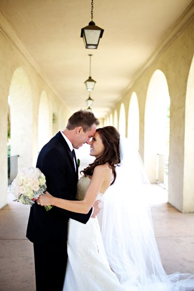 Bride and Groom portrait in Balboa Park before their wedding at the Prado