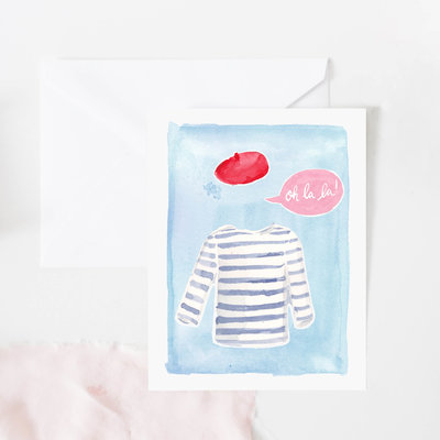 oh la la french beret and breton fashion card