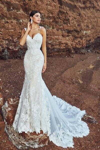 Intricate beaded lace Sexy mermaid silhouette Romantic sweetheart neckline Shoulder details Extra bodice construction Cascading train