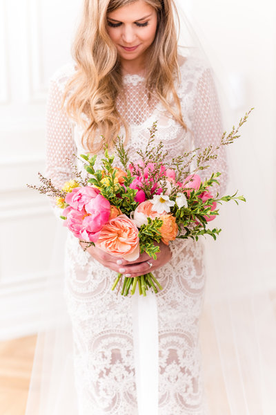 Nashville Tennessee Pink and Orange Wedding Styled Shoot Bridal Portrait