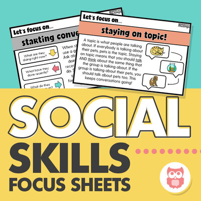 Social skills focus sheets for speech therapy