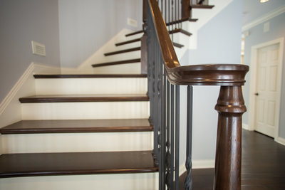 cherry stair case with metal spindles