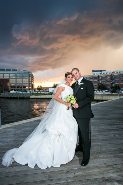 Bond Street Pier in Fells Point Wedding Photos with a storm rolling in
