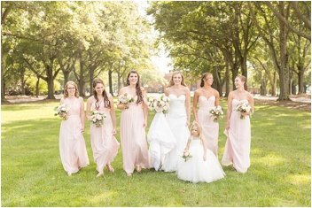 bridesmaids on wedding day at Daniel Chapel Greenville