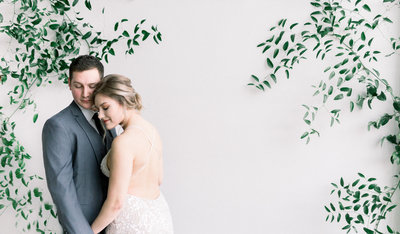couple in portland oregon participating in a wedding style shoot
