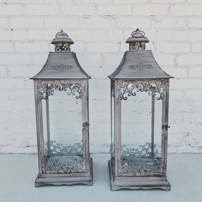 grey rustic lanterns