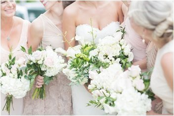 flowers and bridemaids at Wyche Pavilion