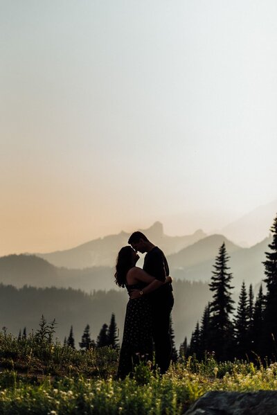 Tipsoo Lake at Mount Rainier Engagement photos.