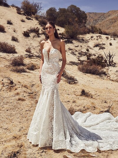 Ivory lace Mermaid silhouette Strapless sweetheart neckline V-illusion plunge Extra bodice construction Cascading train