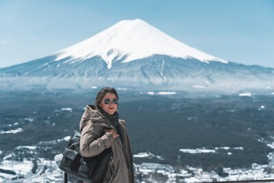 Annie Miller at Mt. Fuji