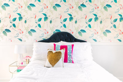 Pink and teal teen girl's  bedroom ideas with Kate Spade wallpaper | Los Angeles Interior Designer
