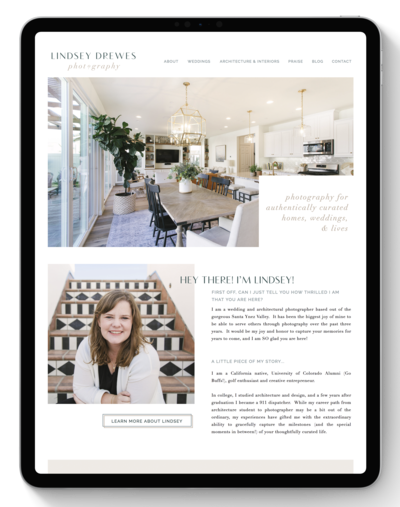 Lindsey Drewes Photography Website After Transformation