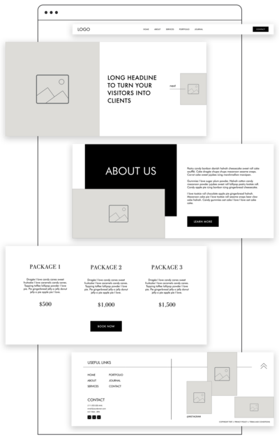Showit Wireframes Kits for Showit web designers.