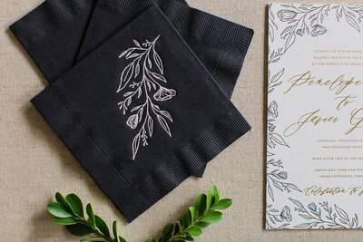 Hand Drawn Invitation Suite Foil Pressed Napkins