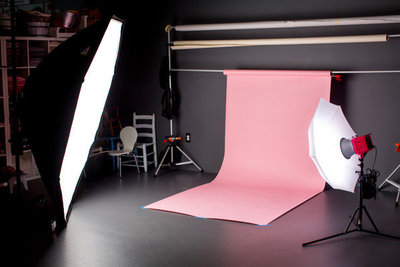 Backdrop setup in the Myrtle Beach portrait studio in The Market Common