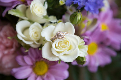 Wedding flowers with wedding ring