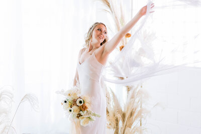 light and airy boho bride in Indianapolis