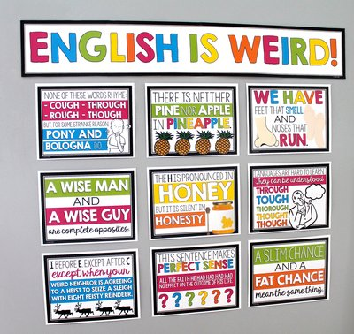 English is Weird funny classroom posters for the middle and high school English classroom.