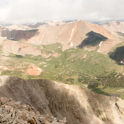 View from the top of the 14er Mt Shavano in Colorado