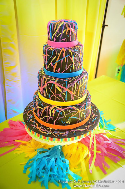 Sparkling Events Designs - Neon Dance Birthday Party - Neon Cake 2