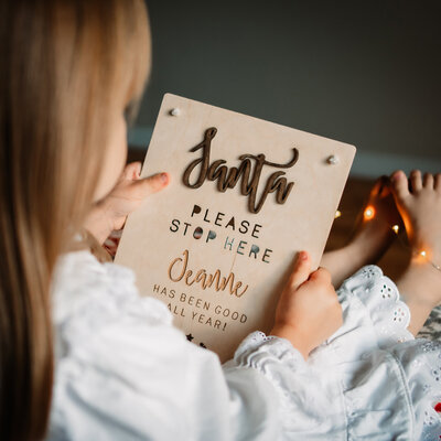 Beautifully finished child's 'Santa Stop Here' flag, a special keepsake for the most magical of nights!