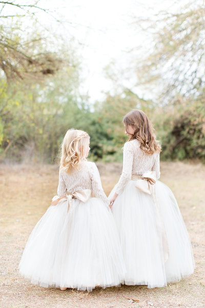 Cream Tulle Skirts Flower Girls Scottsdale Arizona | Amy & Jordan Photography