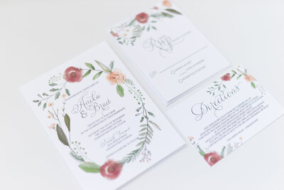 hand painted wedding invitation suite