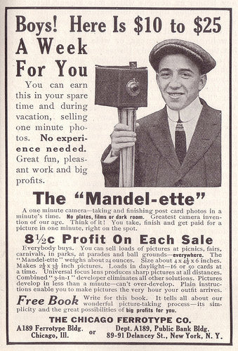 Ad for the mandelette camera